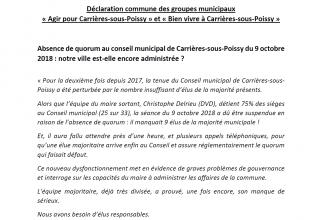 Déclaration des élus de l'opposition suite au conseil municipal du 9.10.2018